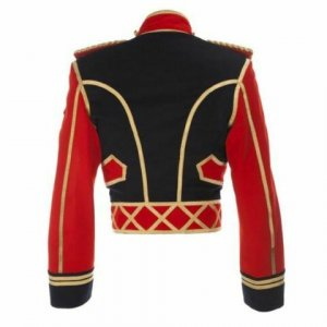 Men's Military Officer Jacket Red And Black Cotton