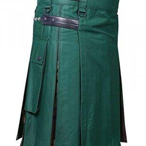 Scottish Men Leather Strap 100% Cotton Hybrid Kilt Green and Camo