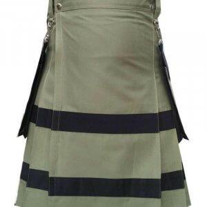 Scottish Fashion Olive Green Utility Kilts For Men