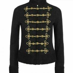 New Black Ladies Jacket Wool Coat Braid Jacket