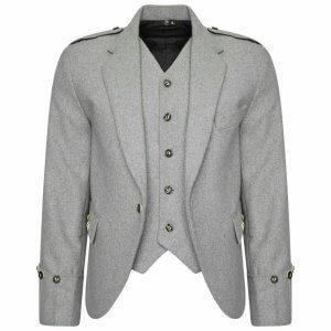 100% WOOL Argyle kilt Jacket & Waistcoat/Vest, Scottish Argyle Jacket Light Grey
