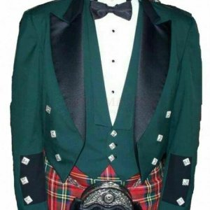 Green Prince Charlie Jacket With Waistcoat Custom Irish Kilt Jacket