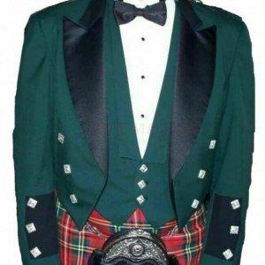 Green Prince Charlie Jacket With Waistcoat Custom Irish Kilt Jacket