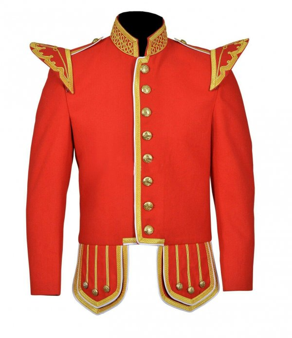 100% Wool Blend Gold Braid Trim Red Military Doublet Pipe Band Jacket
