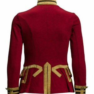 Womens Red Wool French Terry Officer's Military Band Jacket