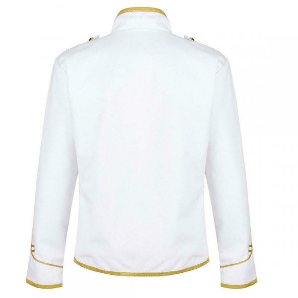 White hussar parade mens military jacket army drummer musician jacket