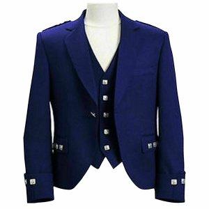 Argyle kilt Jacket & Waistcoat/Vest,Scottish Argyle Jacket Blue Blazer Wool