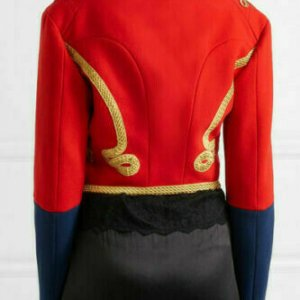 Women's Red Embellished Wool-felt Military Officer Jacket