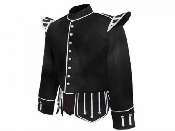 100% Wool Blend Military Piper Drummer Doublet Highland Jacket Black