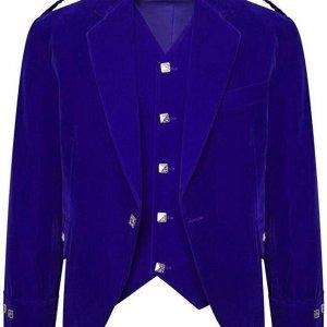 Men's Blue Color Velvet Scottish Highland Argyle Kilt Jacket & Waistcoat
