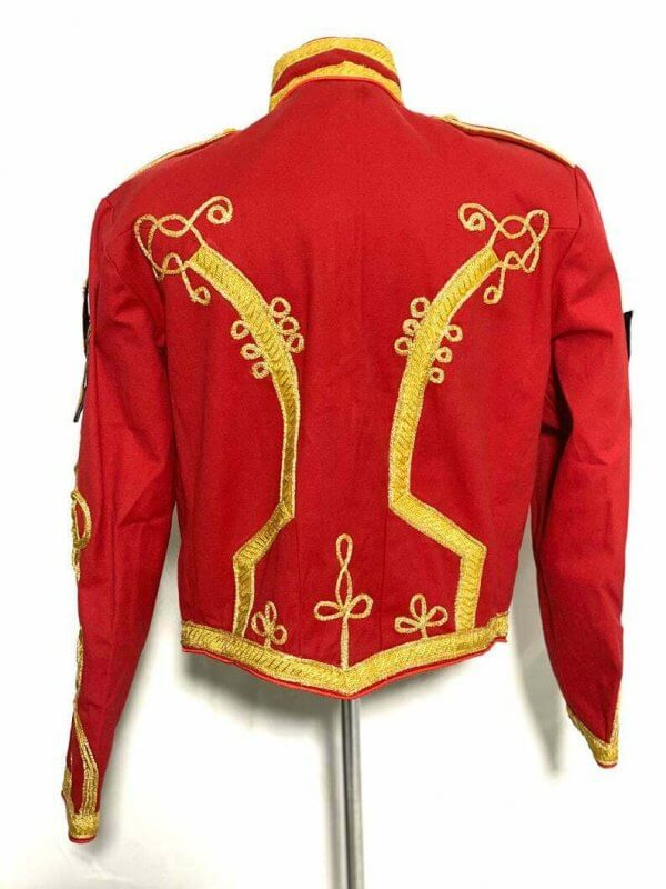 Men's Ceremonial Gold Braiding Hussar Red Jacket with Hand embroidery