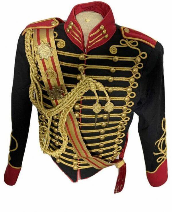 New 5 pcs men's Black Jacket Ceremonial Hussar Officers with Aiguillette