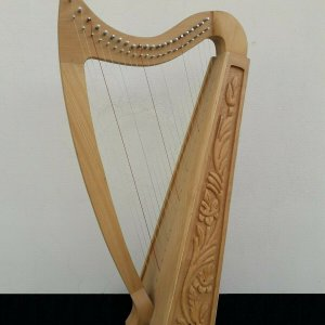22 Strings Ash wood Celtic Irish Harp, Carry bag & Book