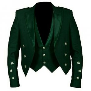 Prince Charlie Jacket Green With Lion rampant 3 Buttons Waistcoat (Vest)
