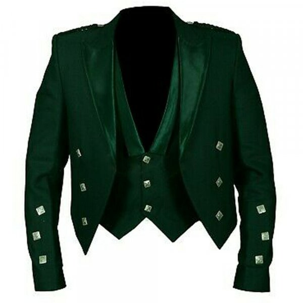 war 78Prince Charlie Jacket Green With Lion rampant 3 Buttons Waistcoat (Vest)