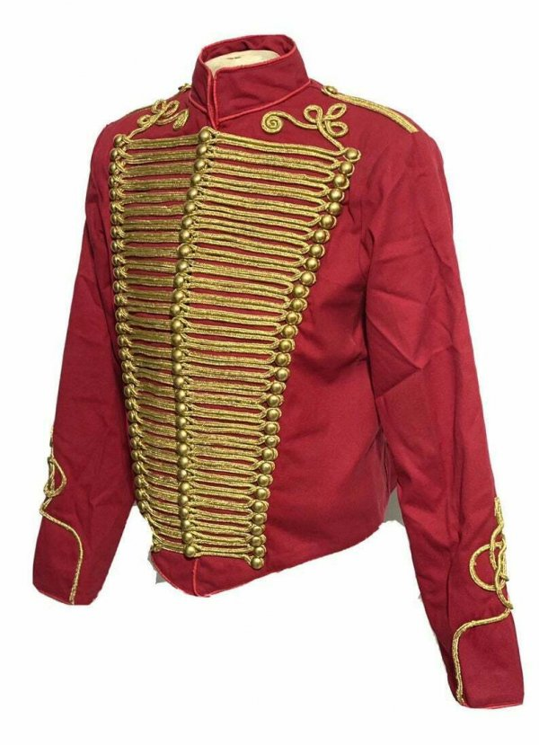 jacket 45Men Ceremonial Hussar Red Military Jacket with Gold Braiding