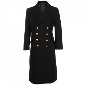 Black Navy Wool Great Coat Winter Trench Naval Military