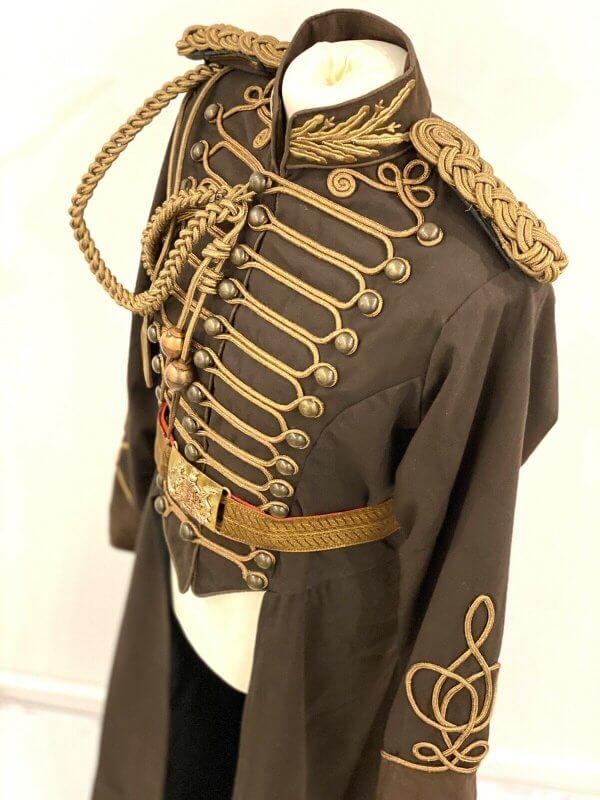 4 Pcs Steampunk Full Length Long Coat With Antique Belt